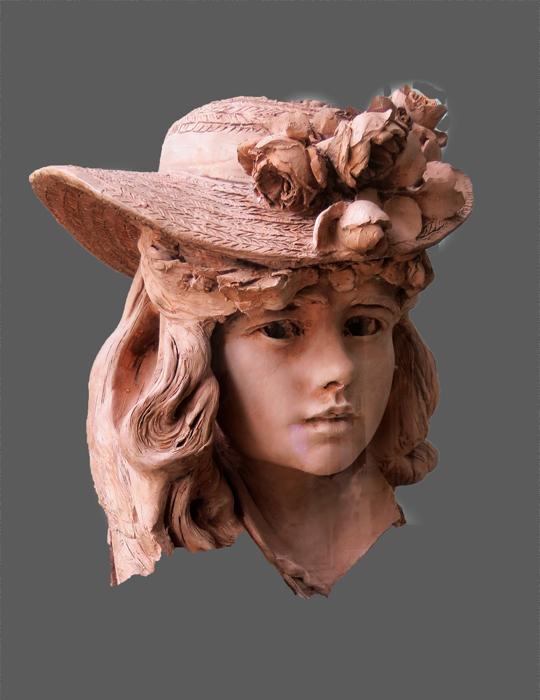 Rodin, jeune femme au chapeau fleuri