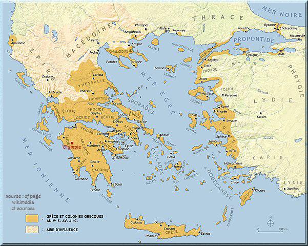 Carte de la Grèce antique au Vè s.avt. J.C