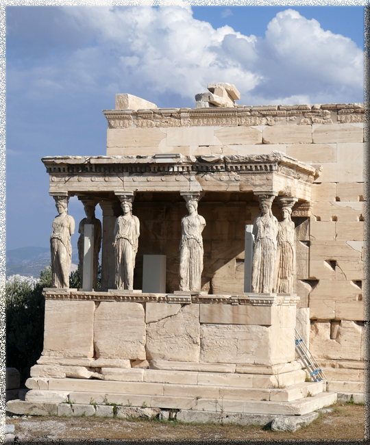Athènes, Acropole, les Cariatides de l'Erechtheion