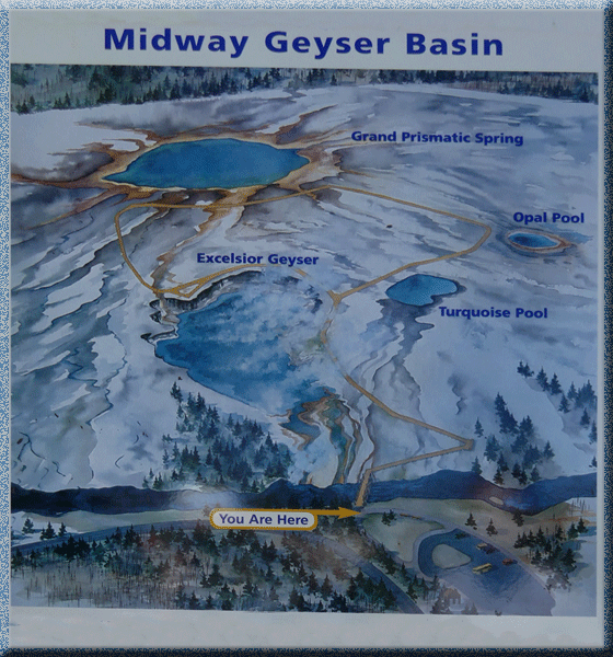 Midway Geyser Basin, Yellowstone, carte